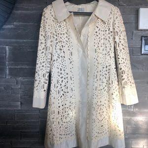 Philosophy beige leather trench coat